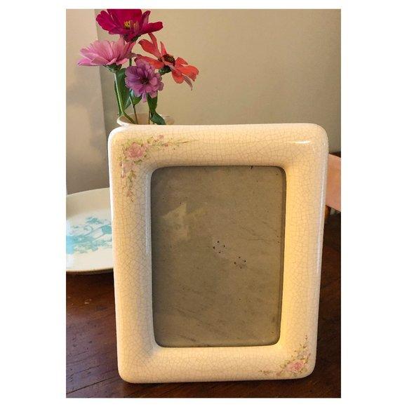 Vintage Ceramic Floral Picture Frame